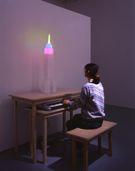 Untitled (Light Organ)  2005  Scale model, lights, electronics and midi piano keyboard,  Dimensions variable