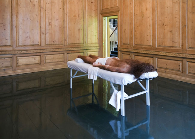 Untitled (Prelapsarian) 2012 Rubber, hair, pigment and massage table 24 x 75 x 36 inches