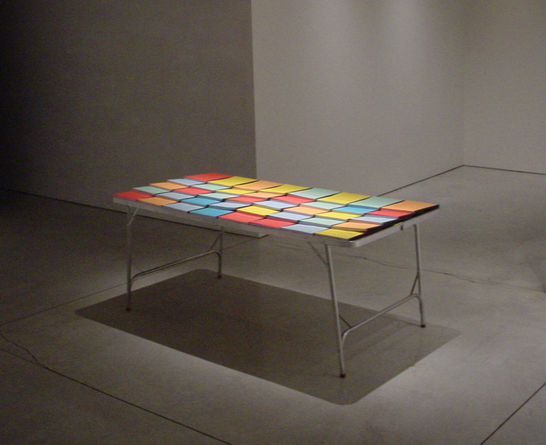 Untitled (Story)   2006  Table and photocopied texts  36 x 72 x 36 inches