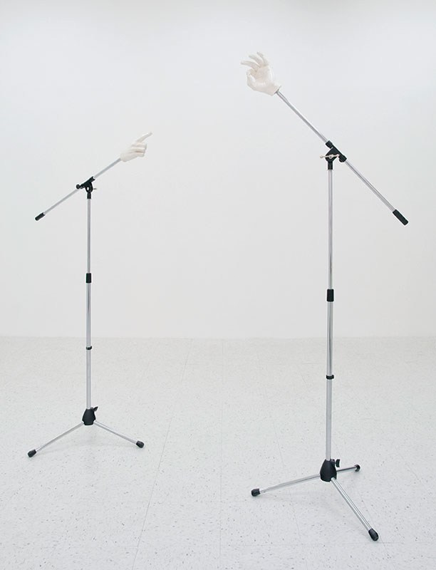 Untitled 2013 Plastic with light-reflective paint and microphone stands Approximately 65 x 65 x 25 inches