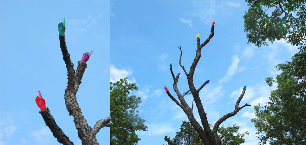 ntitled (Red, Orange, Yellow, Green, Blue, Indigo, Violet) 2013 Tinted resin and tree Dimensions variable